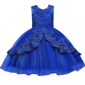 Royal blue lace flower girl party dress gown 3-4